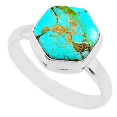 5.52cts blue arizona mohave turquoise 925 silver solitaire ring size 8 r80140