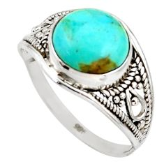 4.58cts blue arizona mohave turquoise 925 silver solitaire ring size 9 r35425