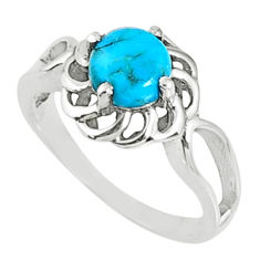 2.44cts blue arizona mohave turquoise 925 silver solitaire ring size 9 r68681