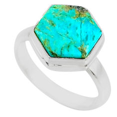 5.22cts blue arizona mohave turquoise 925 sterling silver ring size 6 r80090