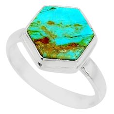 5.15cts blue arizona mohave turquoise 925 sterling silver ring size 7 r80092