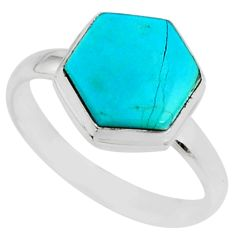 5.43cts blue arizona mohave turquoise 925 sterling silver ring size 9 r80086