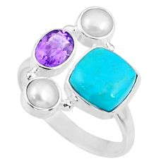 5.83cts blue arizona mohave turquoise amethyst 925 silver ring size 9.5 r57563