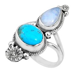 6.76cts blue arizona mohave turquoise moonstone 925 silver ring size 7 r67311