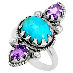 8.42cts blue arizona mohave turquoise oval amethyst silver ring size 9 r67344