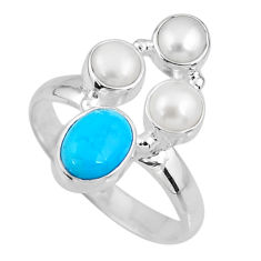 4.70cts blue arizona mohave turquoise pearl 925 silver ring size 9.5 r57543