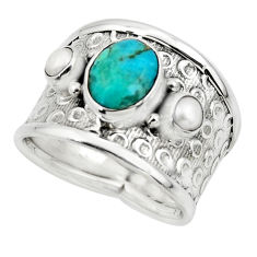 4.73cts blue arizona mohave turquoise pearl 925 silver ring size 8 r49918