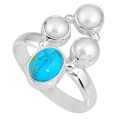 4.93cts blue arizona mohave turquoise pearl silver solitaire ring size 8 r58533