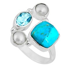6.27cts blue arizona mohave turquoise topaz 925 silver ring size 6.5 r57561