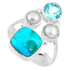 6.31cts blue arizona mohave turquoise topaz pearl 925 silver ring size 7 r57630