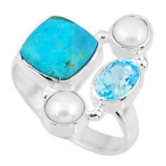 7.53cts blue arizona mohave turquoise topaz pearl 925 silver ring size 8 r57541