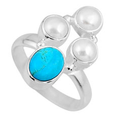 4.69cts blue arizona mohave turquoise white pearl 925 silver ring size 6 r57595