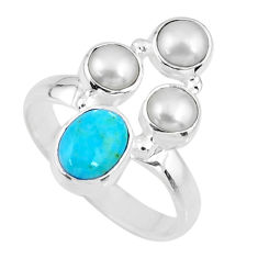 4.70cts blue arizona mohave turquoise white pearl 925 silver ring size 8 r57542