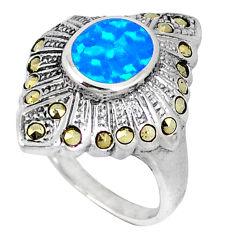 Blue australian fire opal fine marcasite 925 silver ring size 8.5 a40306 c15040