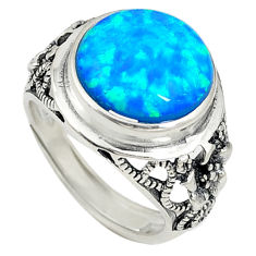 Blue australian opal (lab) 925 silver adjustable ring size 6.5 a73622 c24426