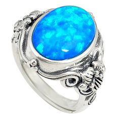 Blue australian opal (lab) 925 silver adjustable ring size 5.5 a73628 c24406