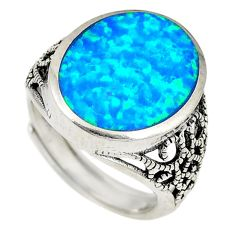 Blue australian opal (lab) 925 silver adjustable ring size 5.5 a74281 c24431