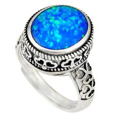 Blue australian opal (lab) 925 silver adjustable ring size 5.5 a74285 c24422