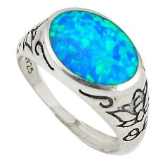 Blue australian opal (lab) 925 silver adjustable ring jewelry size 9 c21896