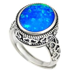 Blue australian opal (lab) 925 silver adjustable ring size 5 a74288 c24428
