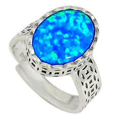 Blue australian opal (lab) 925 silver adjustable ring size 6 a73636 c24423