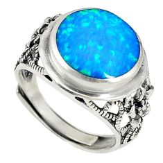 Blue australian opal (lab) 925 silver adjustable ring size 7 a73625 c24410