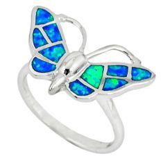 Blue australian opal (lab) 925 silver butterfly ring size 7.5 a36641 c14980