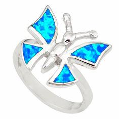 Blue australian opal (lab) 925 silver butterfly ring size 6.5 a73469 c24468