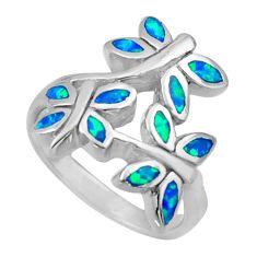 7.03gms blue australian opal (lab) 925 silver butterfly ring size 7 c26250