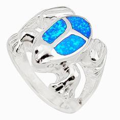 Blue australian opal (lab) 925 silver elephant ring size 5.5 a73485 c24479