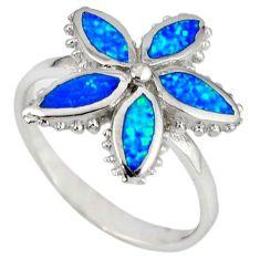 Blue australian opal (lab) 925 silver flower ring jewelry size 7.5 c22984