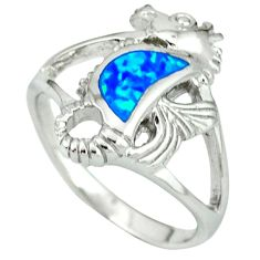 Blue australian opal (lab) 925 silver seahorse ring size 6.35 c15797