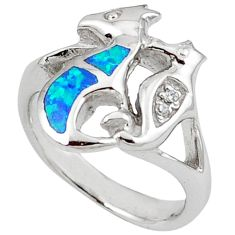 Blue australian opal (lab) 925 silver seahorse ring size 6.5 c15795