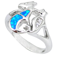 Blue australian opal (lab) 925 silver seahorse ring jewelry size 8.5 c15793