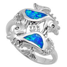 5.69gms blue australian opal (lab) 925 silver seahorse ring size 7.5 c26254