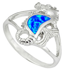Blue australian opal (lab) 925 silver seahorse ring jewelry size 9 c15799