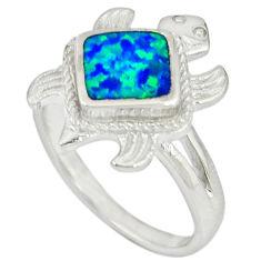 Blue australian opal (lab) 925 sterling silver tortoise ring size 6.5 c15782