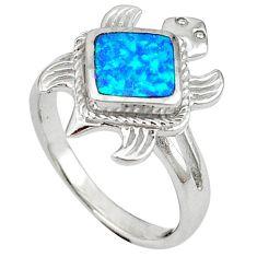 Blue australian opal (lab) 925 silver tortoise ring jewelry size 7.5 c15798