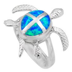 7.89gms blue australian opal (lab) 925 silver tortoise ring size 7.5 c26296