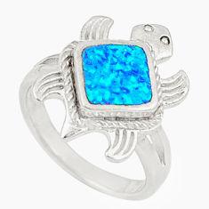 Blue australian opal (lab) 925 silver tortoise ring jewelry size 5.5 c21898