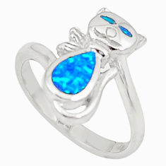 Blue australian opal (lab) 925 sterling silver cat ring size 7.5 a73442 c24436