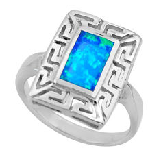 3.29cts blue australian opal (lab) 925 sterling silver ring size 7.5 c26249