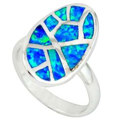 Blue australian opal (lab) 925 sterling silver ring jewelry size 6.5 c22987