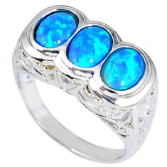 Blue australian opal (lab) 925 sterling silver ring jewelry size 9 c15876