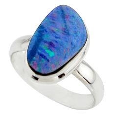 5.28cts blue australian opal (lab) 925 sterling silver ring size 7.5 r42541