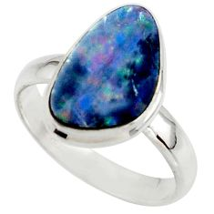 5.30cts blue australian opal (lab) 925 sterling silver ring size 7.5 r42545