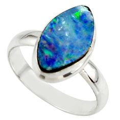 5.15cts blue australian opal (lab) 925 sterling silver ring size 8.5 r42546