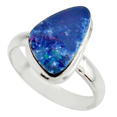 5.30cts blue australian opal (lab) 925 sterling silver ring size 8.5 r42548