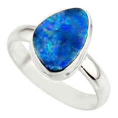 4.90cts blue australian opal (lab) 925 sterling silver ring size 8.5 r42549