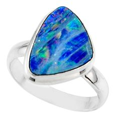 5.32cts blue australian opal (lab) 925 sterling silver ring size 7.5 r42551